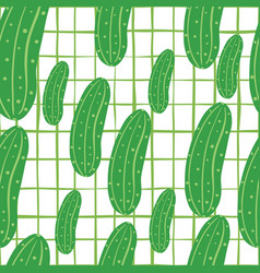 Green cucumber seamless pattern on lines vector