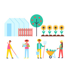 greenhouse and fruit tree set vector image