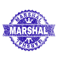 Grunge textured marshal stamp seal with ribbon vector
