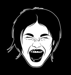 Hand drawn screaming girl emotional realistic vector