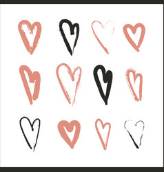 Hand drawn set of hearts design elements fot vector