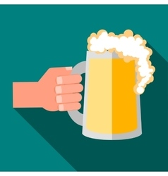 Hand holding mug of beer icon flat style vector