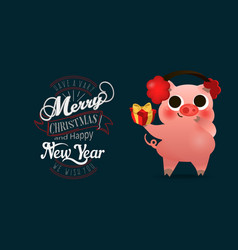 happy chinese new year of pig greeting card card vector image