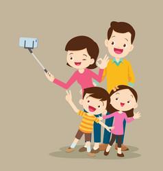 Happy family making selfie vector
