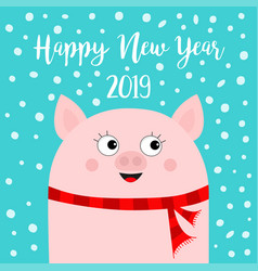 Happy new year 2019 pig wearing red scarf vector