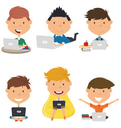 happy students learn and do homework by computer vector image