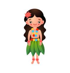 Hawaiian girl in traditional ethnic clothes of vector