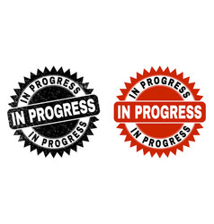 in progress black rosette watermark with grunged vector image