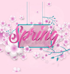 Inscription spring in flowers vector
