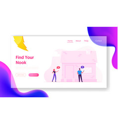 iot smart house monitoring website landing page vector image