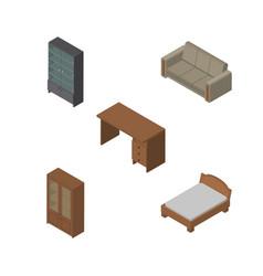 Isometric furnishing set of sideboard cabinet vector