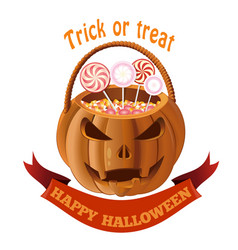 jack o lantern bag with candy halloween basket vector image