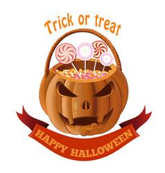 jack o lantern bag with candy halloween basket vector image