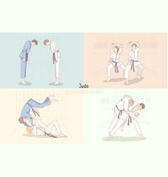 Judo training young students in kimono bow down vector