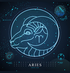 Magic card with astrology neon aries zodiac sign vector