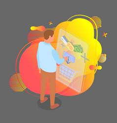 man customer choosing good in online shop vector image