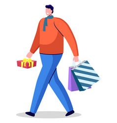 Man hold box and bags ready to greet with holiday vector
