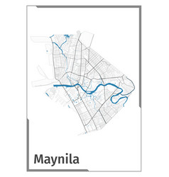 Manila map poster administrative area plan view vector