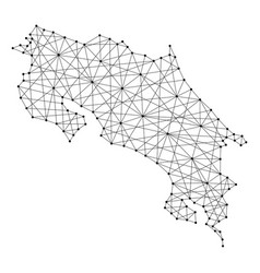 Map of costa rica from polygonal black lines vector