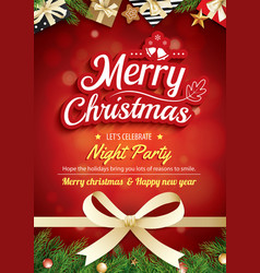 merry christmas greeting card and party on red vector image