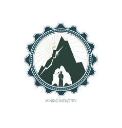 Miner against Mountains in Gear vector