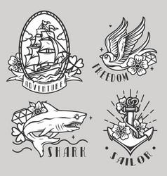Monochrome vintage maritime prints vector