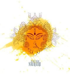 Navratri celebration with maa durga face vector