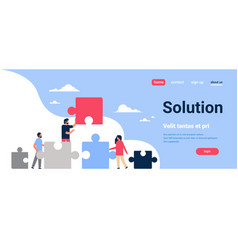 people putting parts of puzzle problems solution vector image