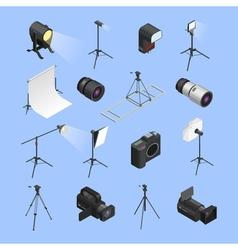 Photo Studio Equipment Isometric Icons Set vector