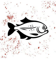 Piranha black silhouette logo Angry evil dangerous vector