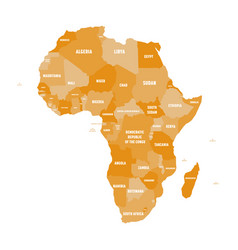 political map of africa in four shades of orange vector image