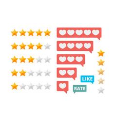 Rating stars social assessment scores likes vector