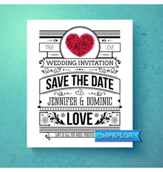 Retro stylish Save The Date wedding template vector image