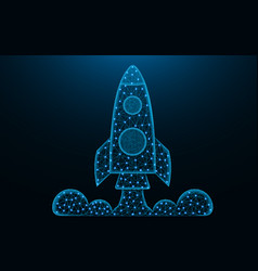 Rocket launch low poly design space shuttle vector