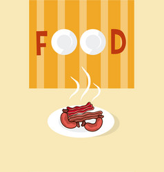 Sausages on dish with cutlery menu cover vector