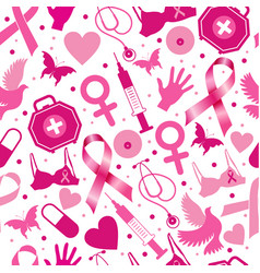 seamless pattern of breast cancer for october vector image
