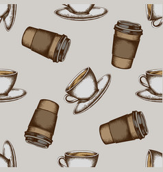seamless pattern with hand drawn colored coffee vector image