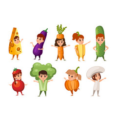 set boys and girls kid wearing vegetables and vector image
