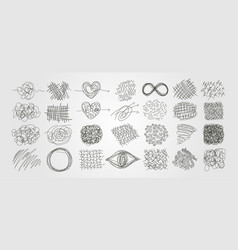 Set chaotic scribble line art abstract design vector