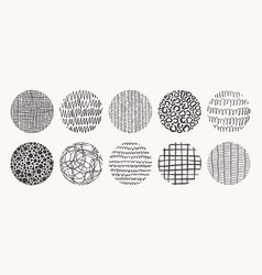 set circle hand drawn patterns textures vector image