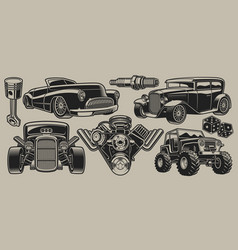 set classic cars and parts in vintage style vector image