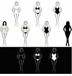 Sketch naked woman and woman in swimsuit vector