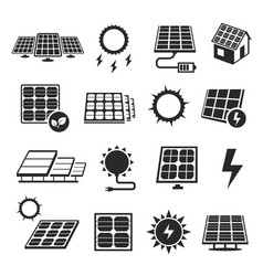 solar panels technology black and white icon set vector image