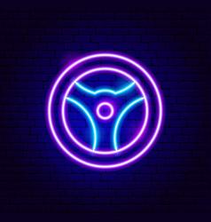 steering wheel neon sign vector image