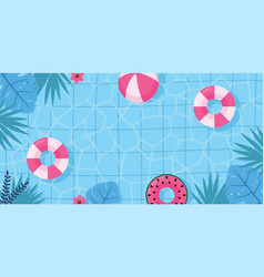Summer pool with floral tropical exotic plants vector