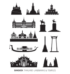 Thailand Landmarks Objects Silhouette Set vector