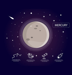 The mercury infographic in universe concept vector