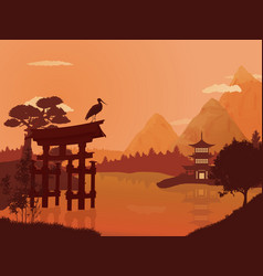 Traditional japanese landscape vector