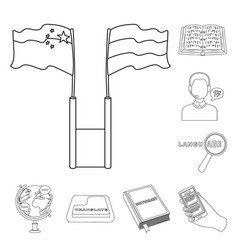 translator and linguist outline icons in set vector image