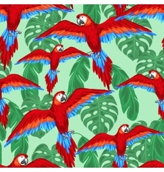 Tropical birds seamless pattern with parrots and vector image